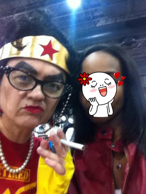 Me failing @ Duck Facing w/ Retired Wonder Woman.