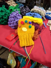 A crazy Awesome Infinity Gauntlet knitting job by my friend, Rose!